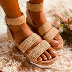 Women's PU Flat Heel Sandals Flats Peep Toe With Solid Color Bandage shoes