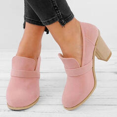 Women's PU Chunky Heel Pumps Boots Low Top Round Toe With Others Solid Color shoes
