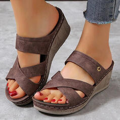 Women's PU Wedge Heel Sandals Platform Wedges Peep Toe With Hollow-out shoes