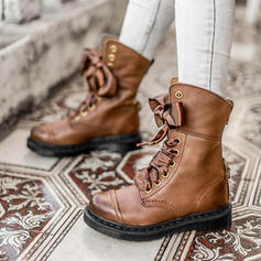 Women's PU Chunky Heel Ankle Boots Martin Boots Round Toe With Lace-up Splice Color shoes