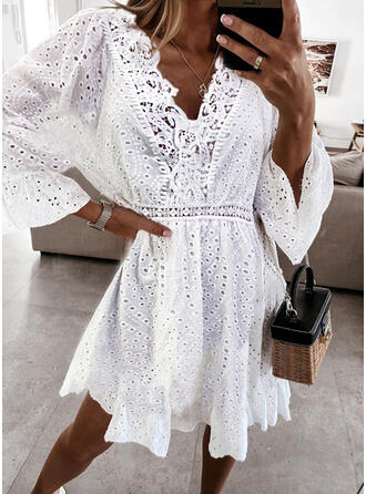 Lace/Solid/Hollow-out 3/4 Sleeves/Flare Sleeves A-line Above Knee Casual/Vacation Skater Dresses