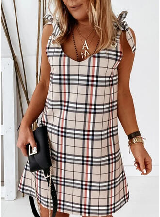 Plaid/Backless Sleeveless Shift Above Knee Casual Tank Dresses