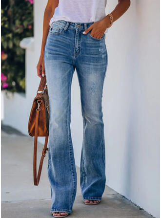 Solid Cotton Elegant Sexy Pocket Shirred Ripped Pants Denim & Jeans