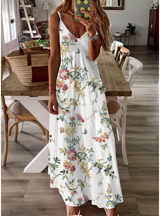 Floral/Animal Print Sleeveless A-line Slip/Skater Casual/Vacation Maxi Dresses