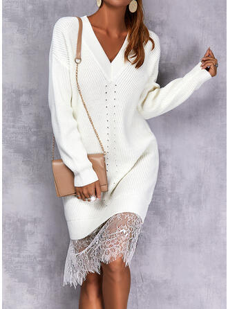 Solid Lace Long Sleeves Dropped Shoulder Shift Knee Length Casual Sweater Dresses