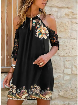 Lace/Print/Floral 1/2 Sleeves Shift Above Knee Casual/Vacation Dresses