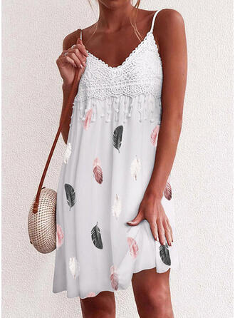 Print Lace Sleeveless Shift Above Knee Casual/Vacation Slip Dresses