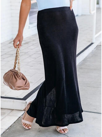 Polyester Plain Maxi Pencil Skirts