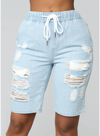 Zakken Shirred Boven de knie Casual Broodmager Shorts