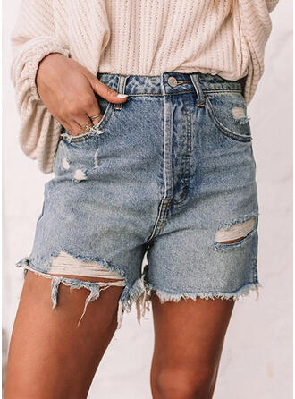 Ripped Tassel Solid Denim Shorts