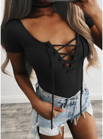 Solid Lace-up V-Neck Short Sleeves Sexy Knit Blouses