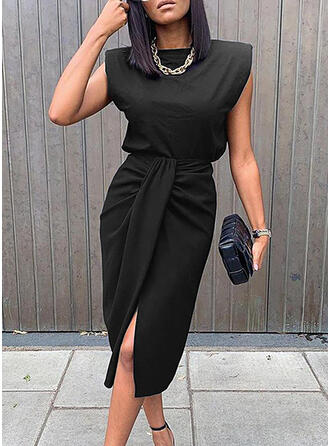 Solid Sleeveless Sheath Knee Length Little Black/Elegant Dresses