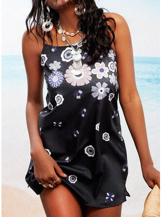 Print/Floral/Backless Sleeveless Shift Above Knee Casual Slip Dresses