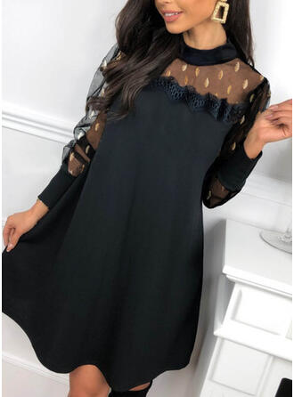 Lace/Print Long Sleeves Shift Above Knee Party/Elegant Dresses