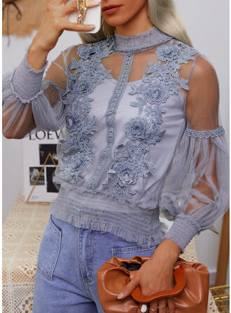 Print Lace Stand collar Long Sleeves Lantern Sleeve Casual Blouses