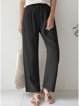 Solid Plus Size Casual Long Lounge Pants