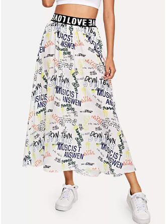 Polyester Print Mid-Calf A-Line Skirts