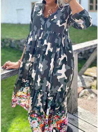 Floral/Camouflage Long Sleeves A-line Casual Maxi Dresses