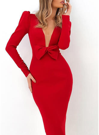 Solide Lange Mouwen/Pof Mouwen Bodycon Potlood Feest/Elegant Medium Jurken