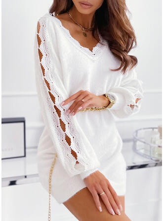 Solid Lace/Knit Long Sleeves Bat Sleeve Shift Above Knee Casual Sweater Dresses