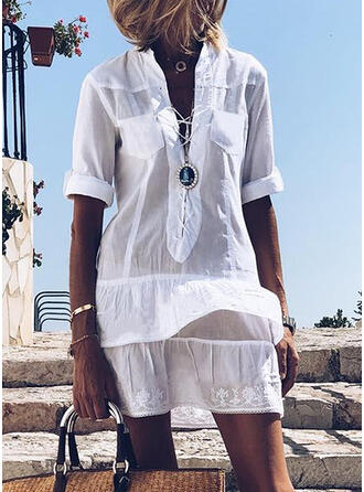 Solid/Lace-up 1/2 Sleeves Shift Above Knee Casual Tunic Dresses