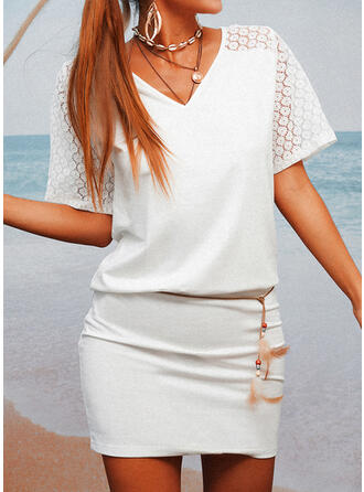 Lace/Solid/Hollow-out 1/2 Sleeves Bodycon Above Knee Casual Dresses