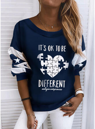 Print Color Block Figure Heart Round Neck Long Sleeves Sweatshirt