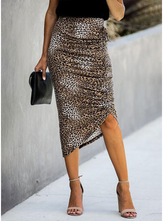 Polyester Cotton Animal Print Mid-Calf Pencil Skirts Asymmetrical
