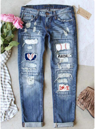 Print Ripped Tribal Vintage Denim & Jeans