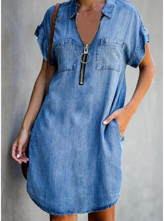 Solid Short Sleeves Shift Above Knee Casual/Denim Tunic Dresses
