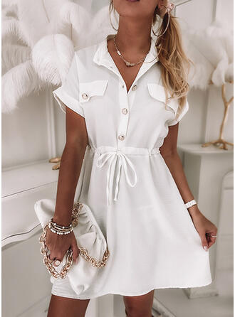 Solid Short Sleeves A-line Above Knee Casual Skater Dresses