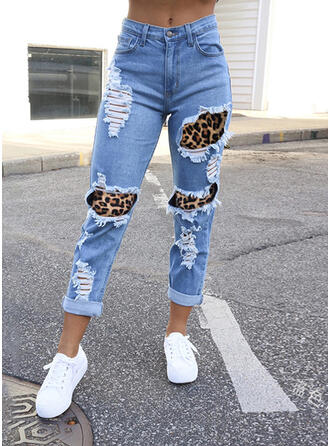 Shirred Plus Size Ripped Casual Sexy Denim & Jeans