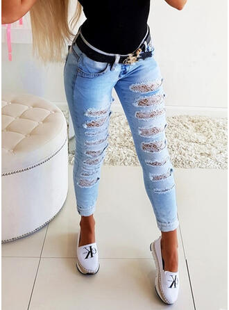Shirred Ripped Sexy Solid Plain Denim & Jeans