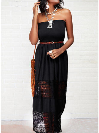 Lace/Solid/Backless Sleeveless A-line Skater Casual Maxi Dresses