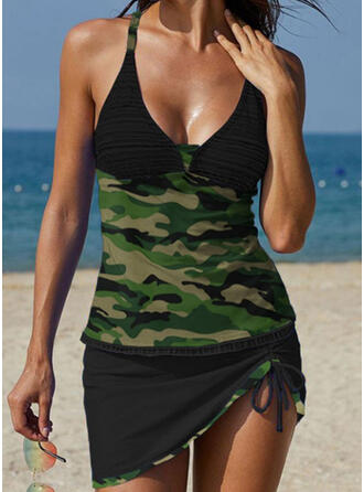 Camouflage Strap U-Neck Plus Size Casual Tankinis Swimsuits