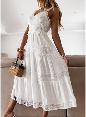 Lace/Solid Sleeveless A-line Skater Casual/Vacation Midi Dresses
