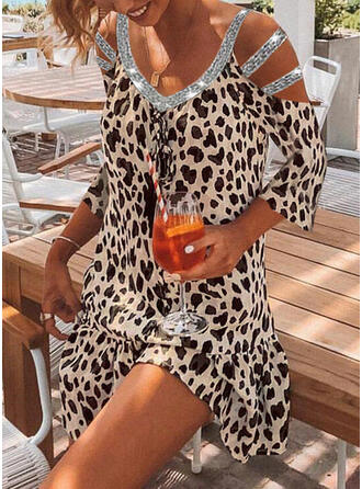 Sequins/Leopard/Lace-up 3/4 Sleeves Shift Above Knee Casual/Vacation Tunic Dresses