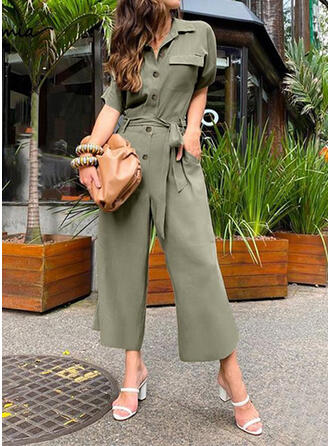Solid Shirt collar 1/2 Sleeves Casual Vintage Jumpsuit