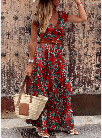 Print/Floral Short Sleeves A-line Skater Vacation Maxi Dresses