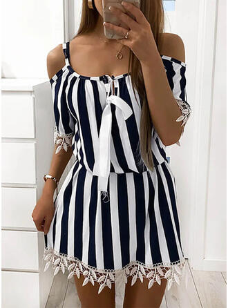 Lace/Striped/Lace-up 1/2 Sleeves Shift Above Knee Casual Tunic Dresses