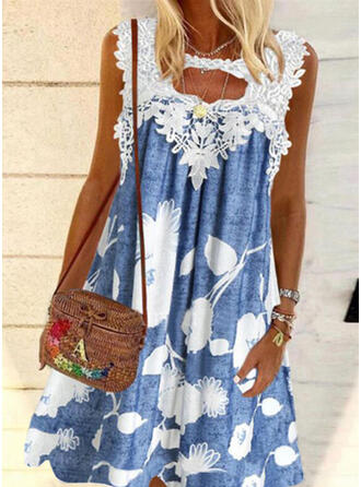 Lace/Print/Floral Sleeveless Shift Knee Length Casual Dresses