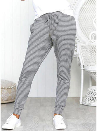 Pockets Shirred Casual Striped Sporty Pants