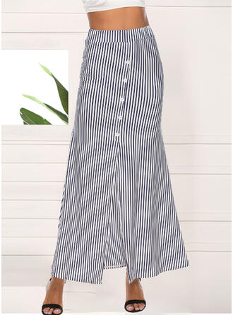 Polyester Striped Mid-Calf Pencil Skirts