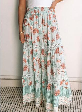 Polyester Print Floor Length A-Line Skirts