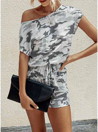 Camouflage Round Neck Short Sleeves Casual Vintage Romper