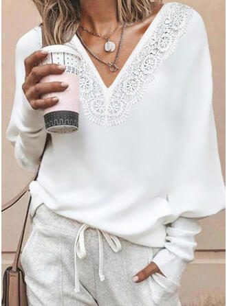 Solid Lace V-Neck Long Sleeves Bat Sleeve Casual Blouses