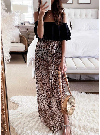 Leopard 1/2 Sleeves A-line Skater Casual/Vacation Maxi Dresses