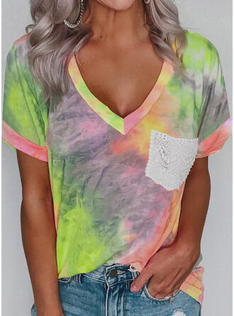 Lace Tie Dye V-Neck Short Sleeves T-shirts