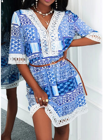 Print Lace 1/2 Sleeves A-line Above Knee Casual Skater Dresses