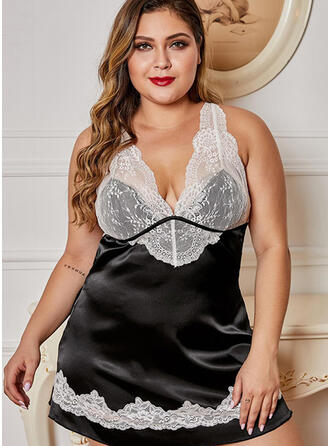 Polyester Spandex Lace Patchwork Sexy Lingerie Set
